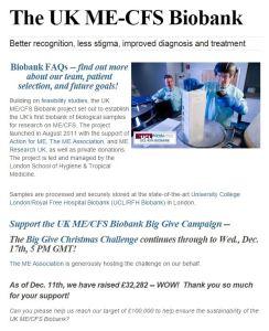 Uk ME CFS biobank Big Give campaign